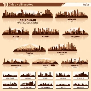 City skyline set 10 vector silhouettes of Asia #1