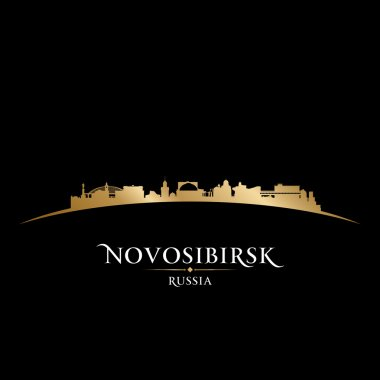 Novosibirsk Russia city skyline silhouette black background
