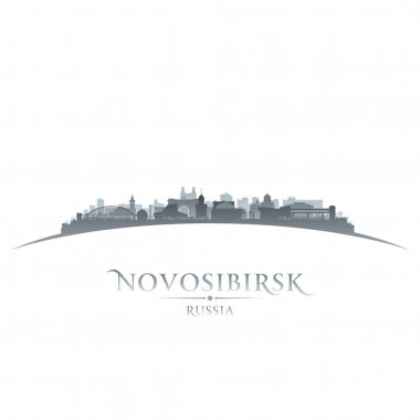 Novosibirsk Russia city skyline silhouette white background