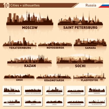 City skyline set. 10 cities of Russia