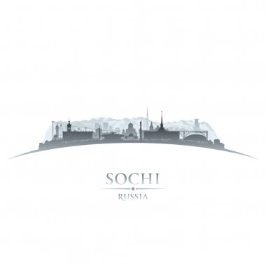 Sochi Russia city skyline silhouette white background