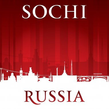 Sochi Russia city skyline silhouette red background