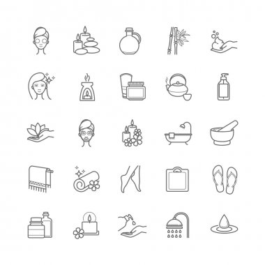 Spa and Beauty thin line vector icons set for web, polygraphy, etc. clip art vector