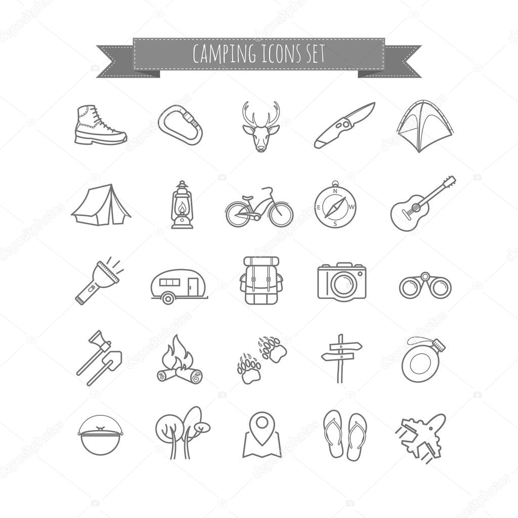 vector camping summer icons set