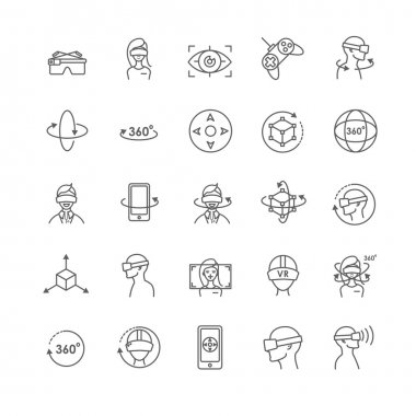 Virtual and augmented reality vector icons