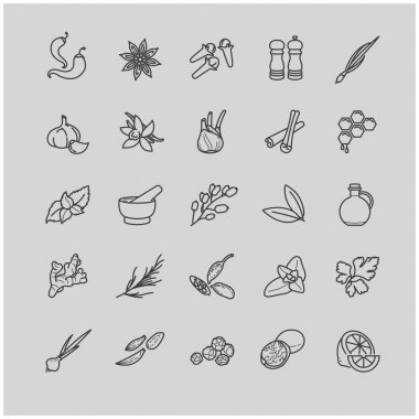 Spices and seasonings line icons