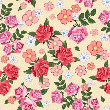 Beautiful seamless pattern with flowers background. Elegance vector illustration
