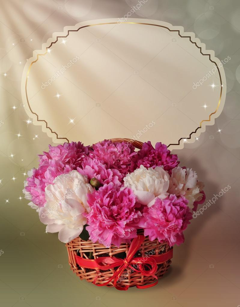 Postcard with a basket full of peonies — Stock Photo © Larisa111 ...
