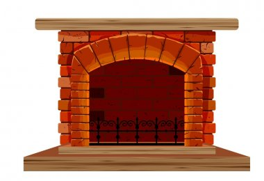 old brick fireplace on a white background