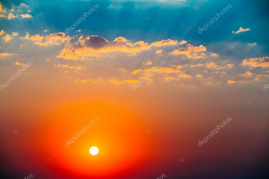 morning blue and bright yellow sun Sunlight contains red, orange, yellow, green and blue light rays and many shades of each of these colors, depending on the energy and wavelength of the individual rays (also called electromagnetic radiation.