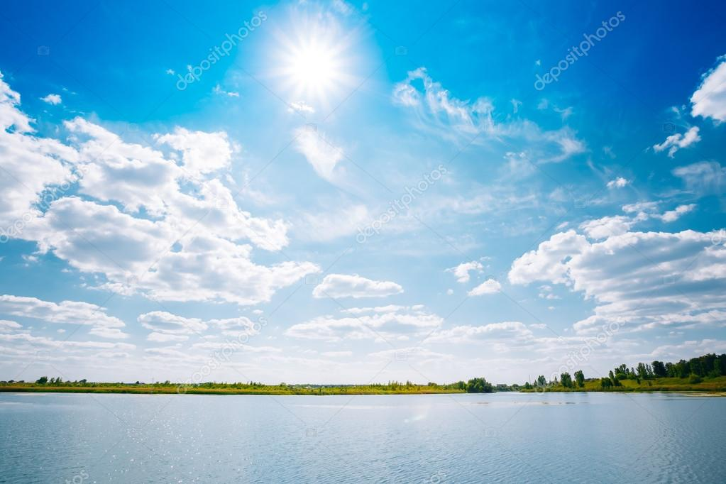 Riverine Skyline Landscape, River Lake Water Surface, Blue Clouds