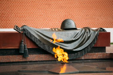 Eternal Flame in Moscow at the Tomb of the Unknown Soldier in Moscow, Russia