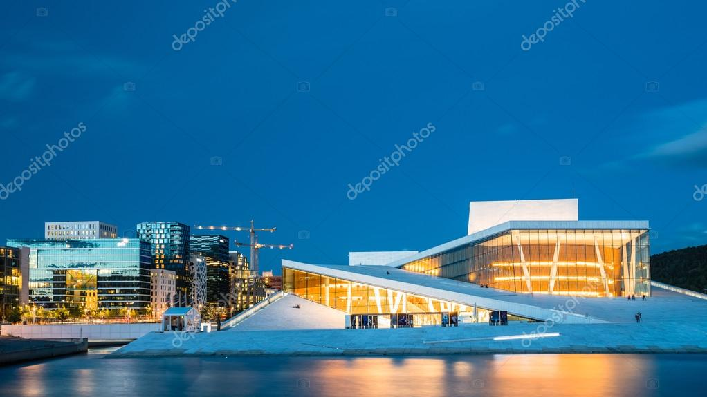 Night View Of The Oslo Opera House Is The Home Of The Norwegian U2014 Stock  Photo