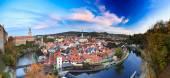 Fotografie Panoramatické panoráma města Český Krumlov, Česká republika. Podzimní večer