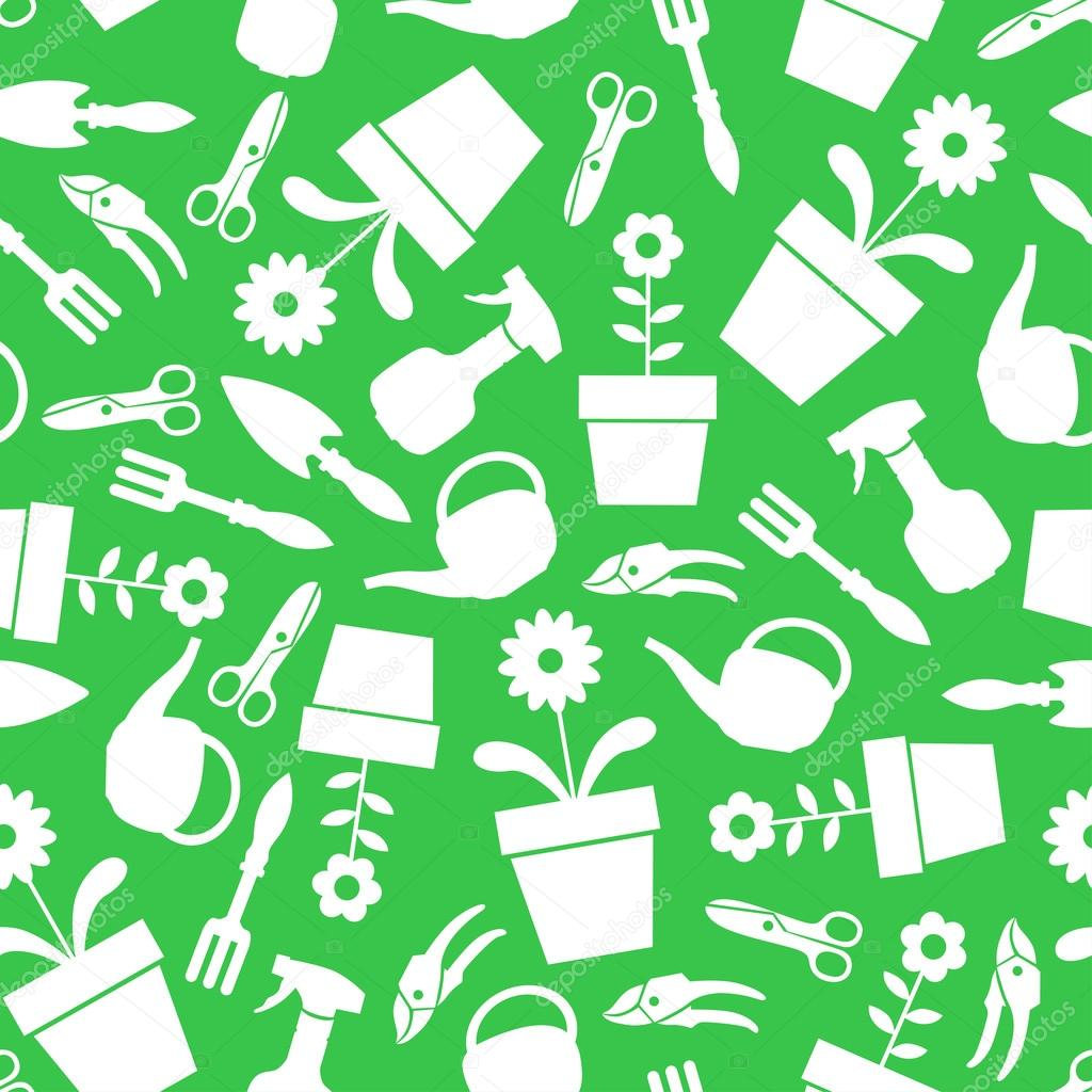 Garden tools pattern seamless on green background