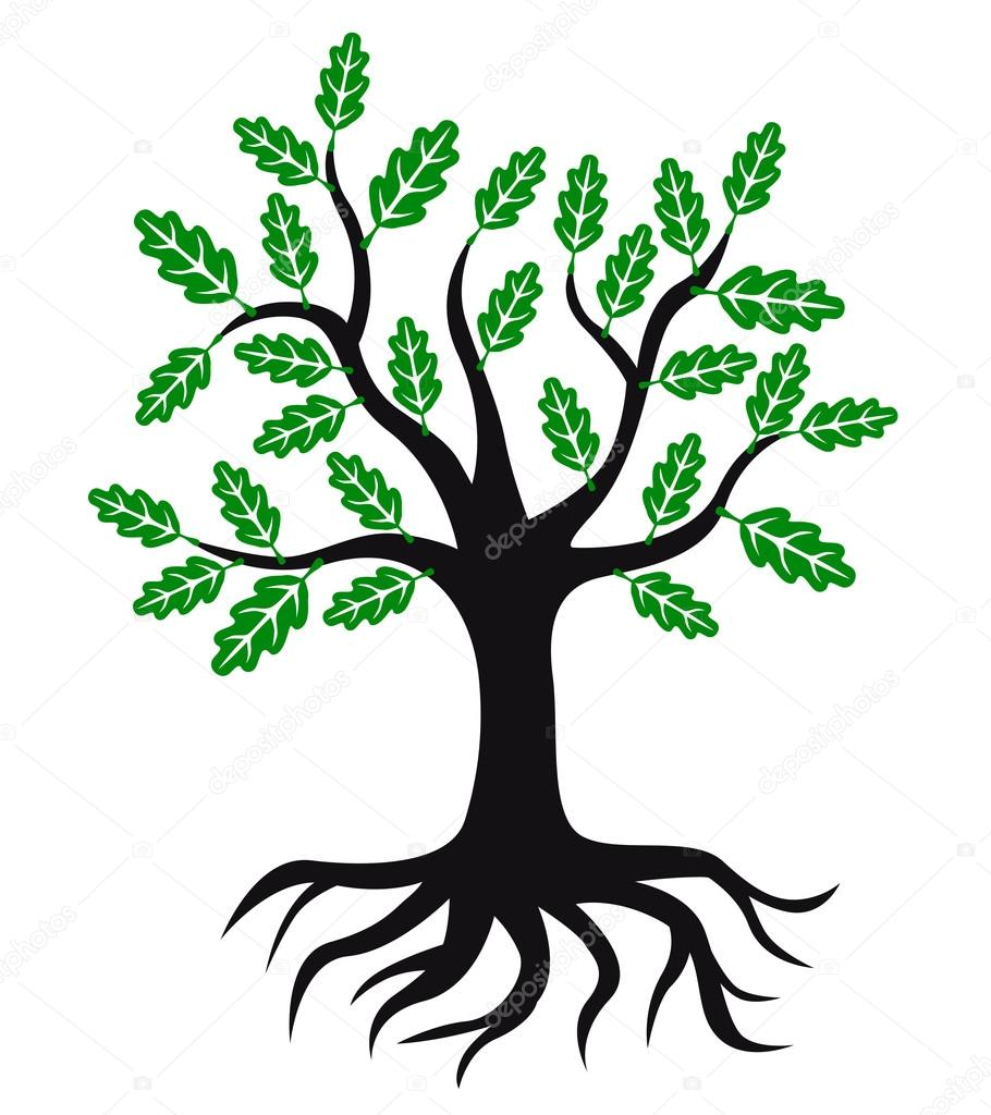 oak tree icon with green leaves and roots stock vector agrino rh depositphotos com tree roots vector free tree roots vector free download