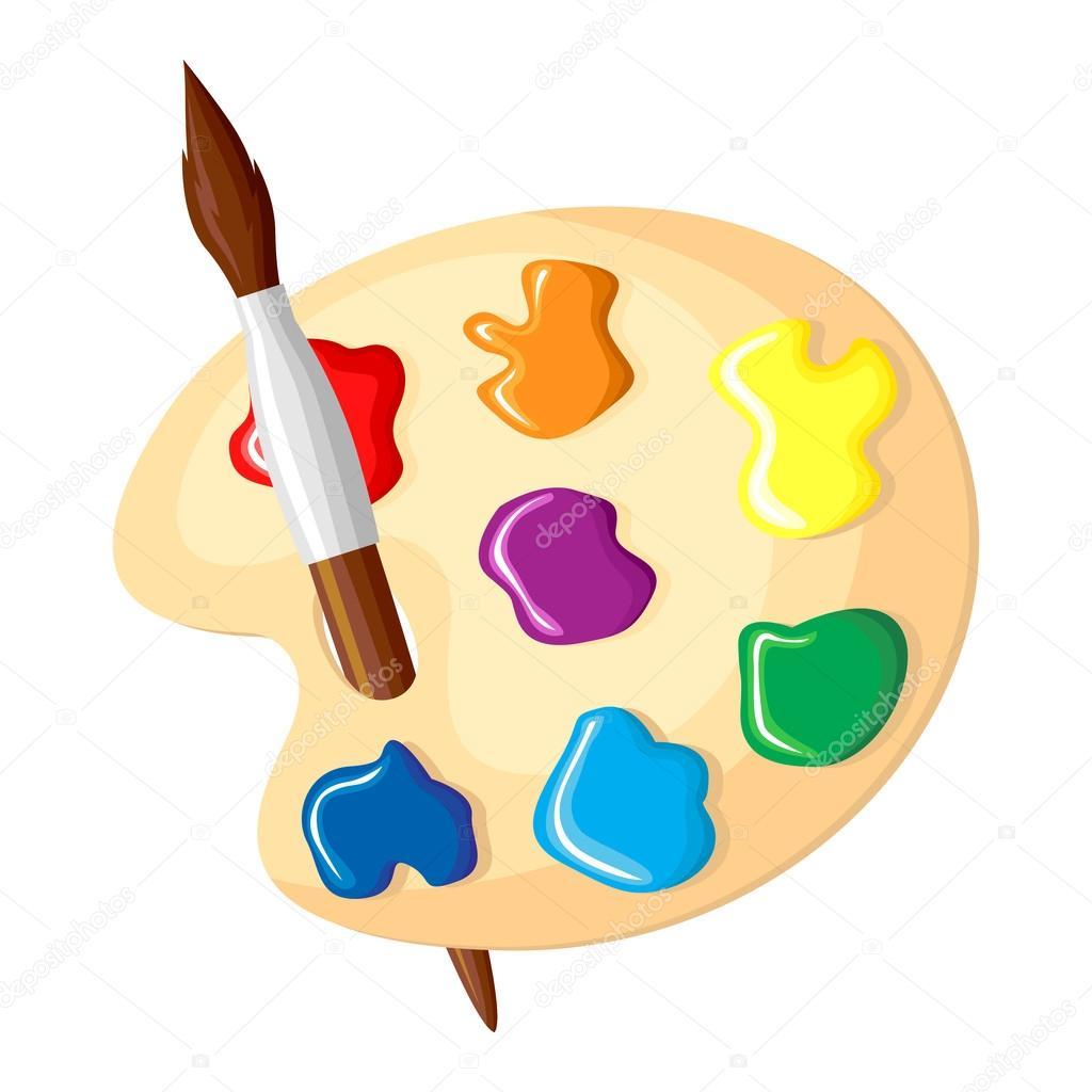 pincel y paleta de colores del icono de pinturas archivo Artist Easel Clip Art Artist Silhouette Painting