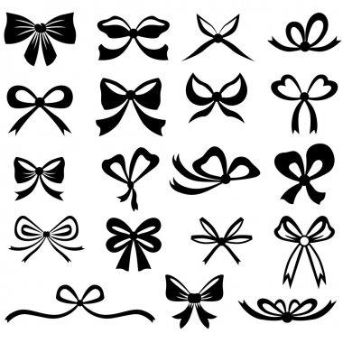 Black and white silhouette image of bow set stock vector