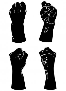 Silhouettes set of hands folded into a fist