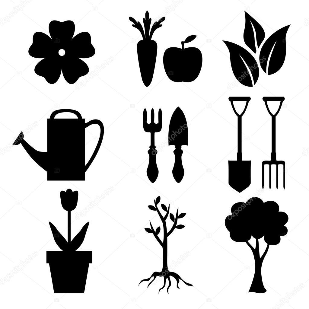 Set of silhouette garden and nature icon