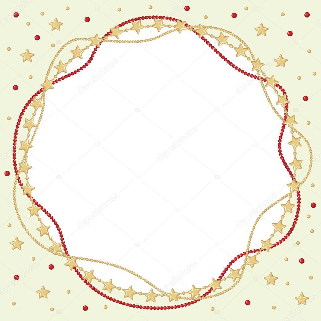 Navidad redondo saludo marco de cuentas rojas y oro — Archivo ...