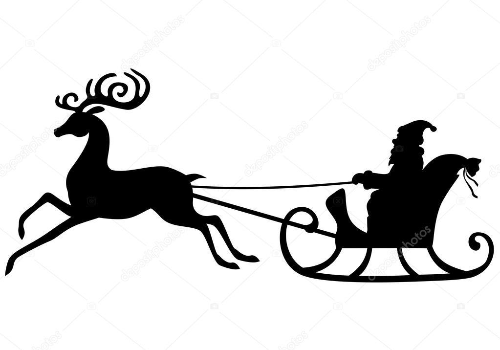 silhouette de p re no l cheval sur un tra neau de cerf image vectorielle agrino 58780869. Black Bedroom Furniture Sets. Home Design Ideas