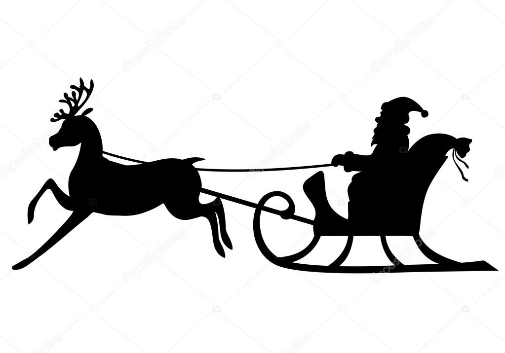 Silhouette Santa Claus Riding On A Deer Sleigh Stock Vector