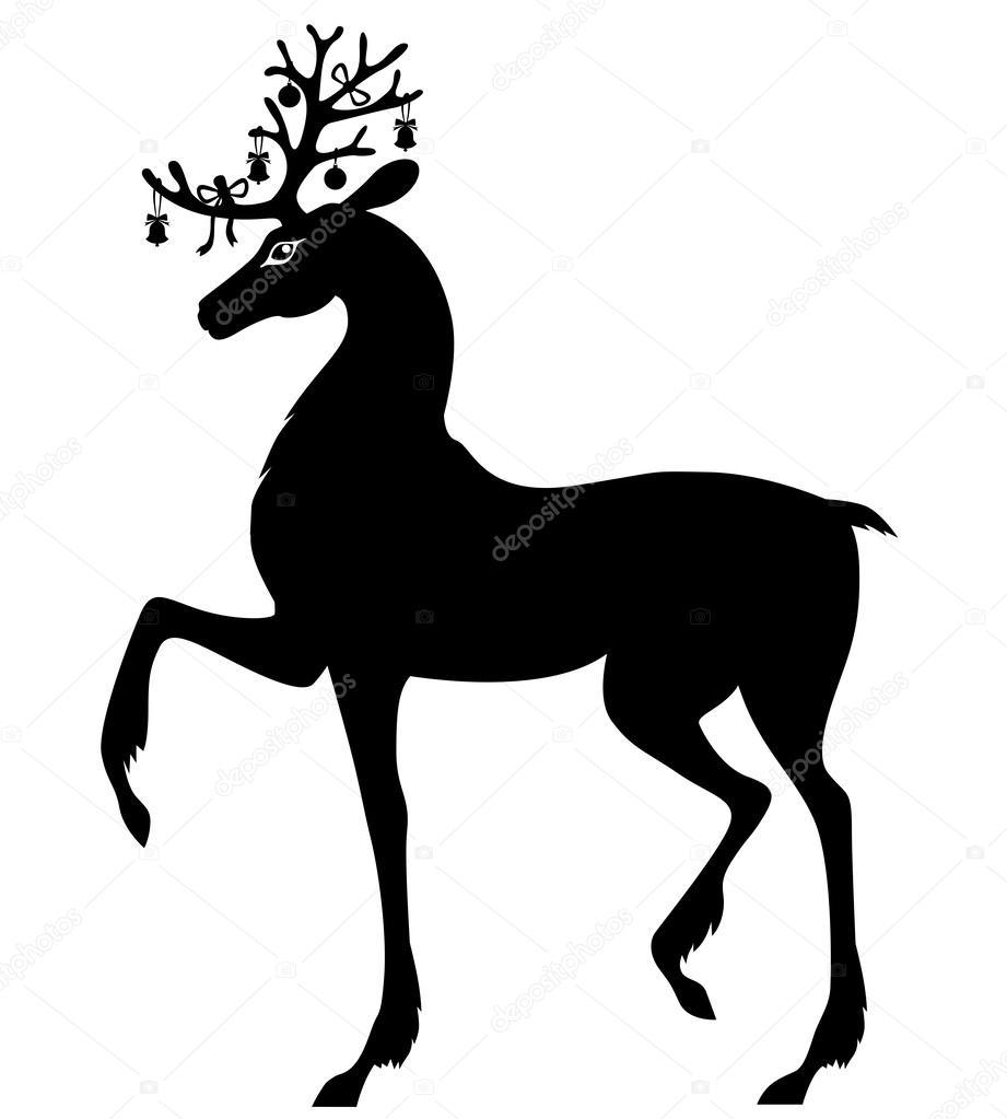 Silhouette von Weihnachten Hirsch — Stockvektor © agrino #59226539