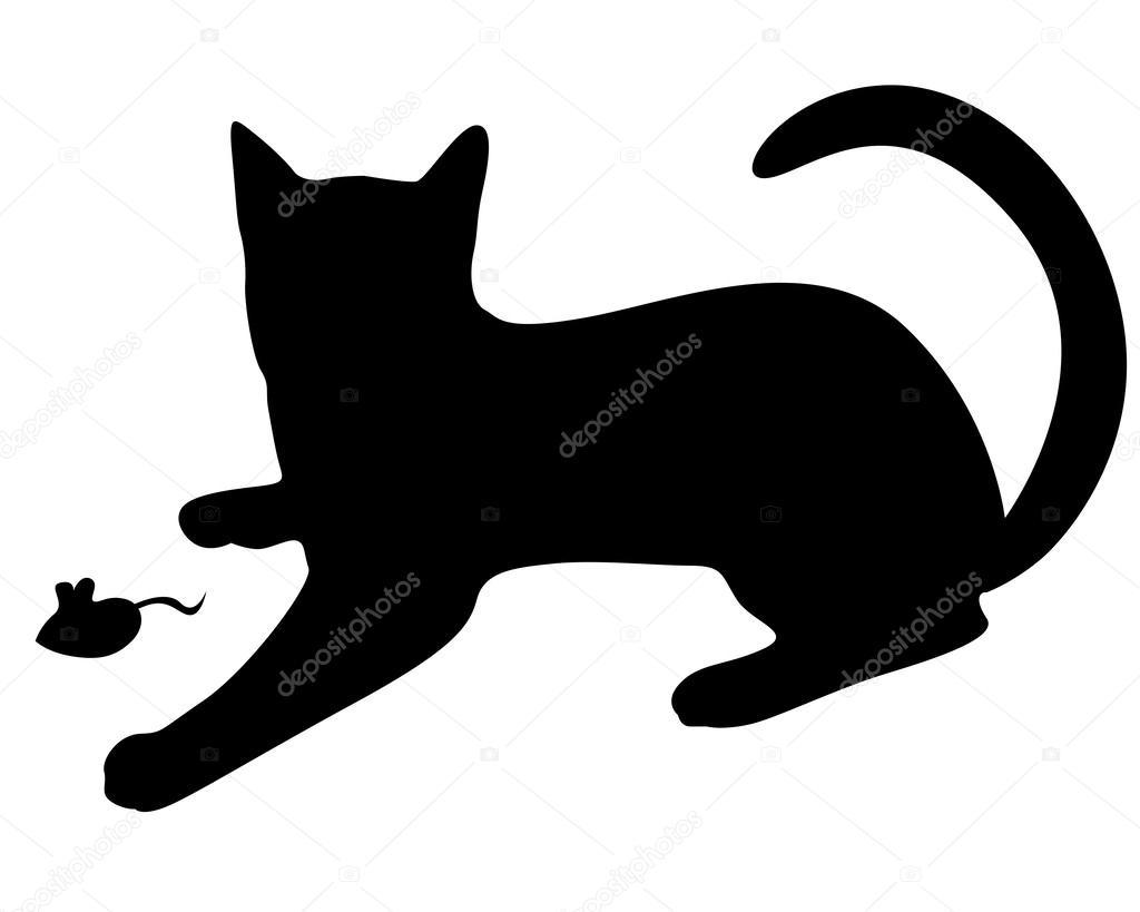 Gato Silueta Negra Jugando Con Un Ratón Vector De Stock Agrino