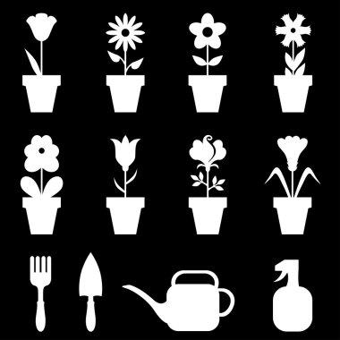 Pot flowers icons set on black background