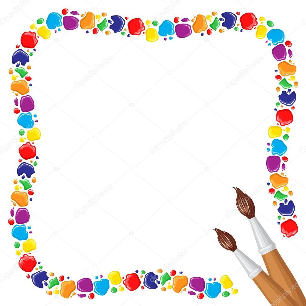 marco de gotas de pinturas y manchas y dos pinceles splatter vector png free paint splatter vector png