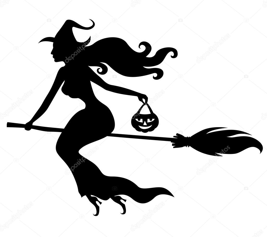 Beautiful sexy witch with broom silhouette
