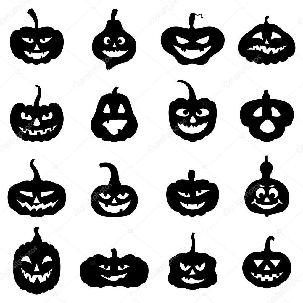 Forma diferente de halloween calabazas con caras de miedo - Calabazas de halloween de miedo ...