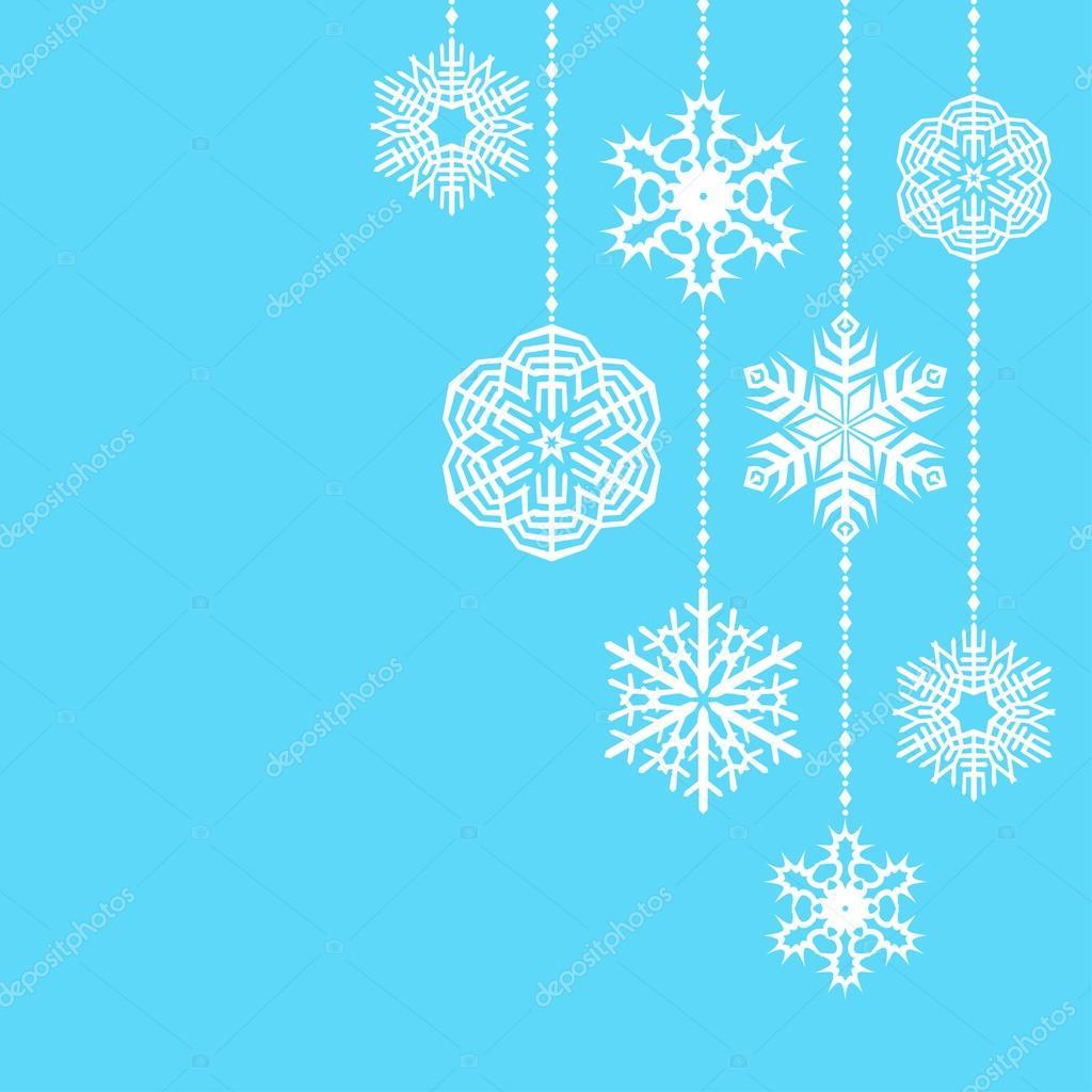 Hängende Schneeflocken Hintergrund Weihnachten — Stockvektor ...