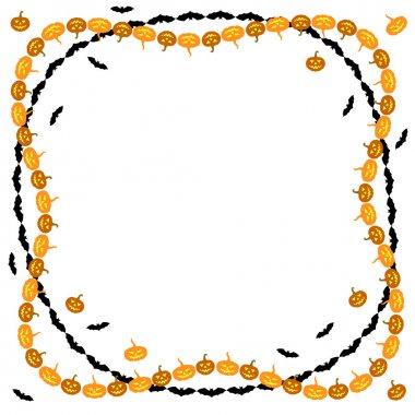Halloween pumpkins and bats border