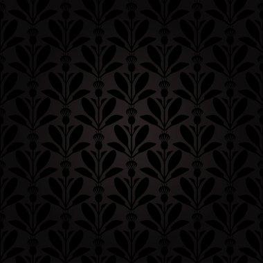 Dark background Thistle flowers pattern seamless