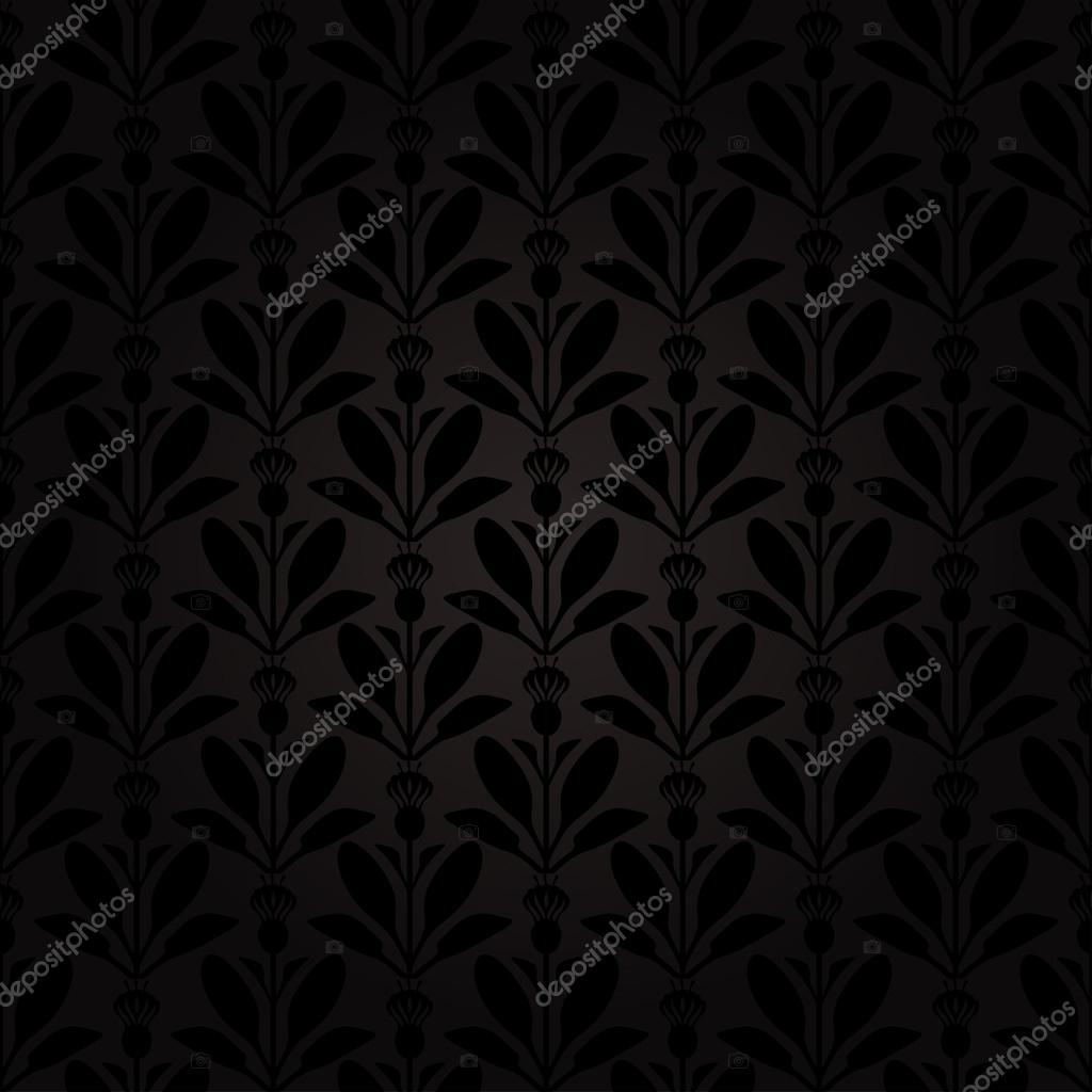 Dark background Thistle flowers pattern seamless