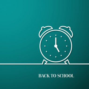 Back to school card with paper alarm clock.