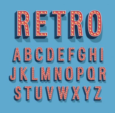 Retro font with light bulbs.