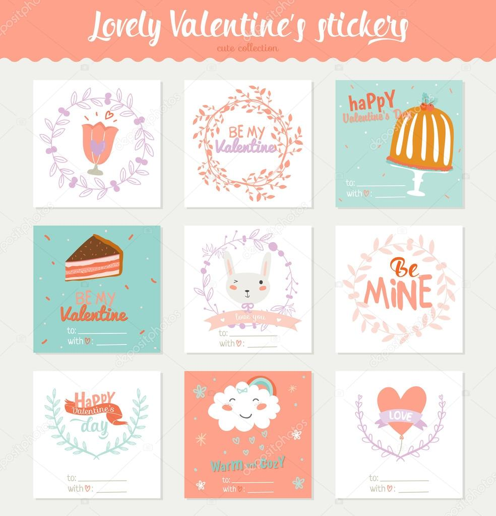 square valentines day gift tags — stock vector © one7thlifetime