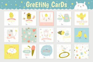 Cute square greeting cards set