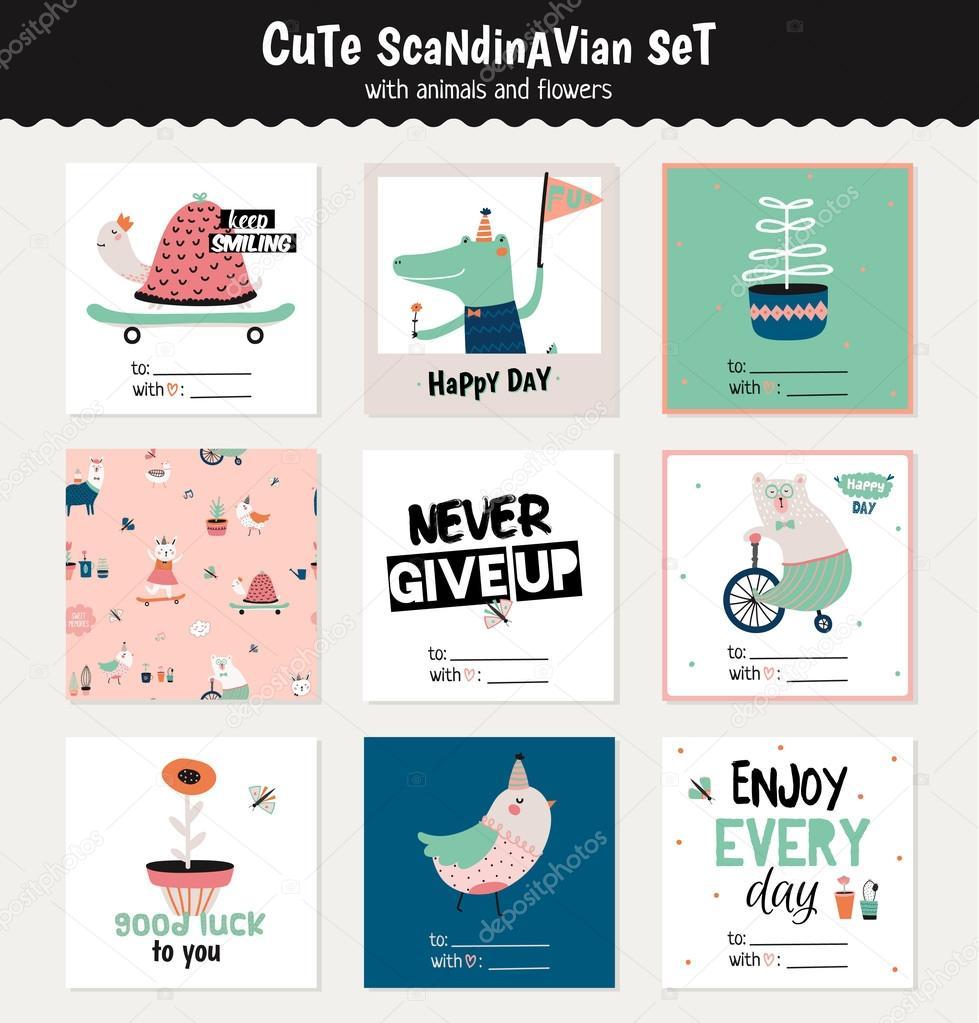 Cute scandinavian set of greeting cards