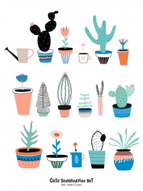 Set of cute house plants