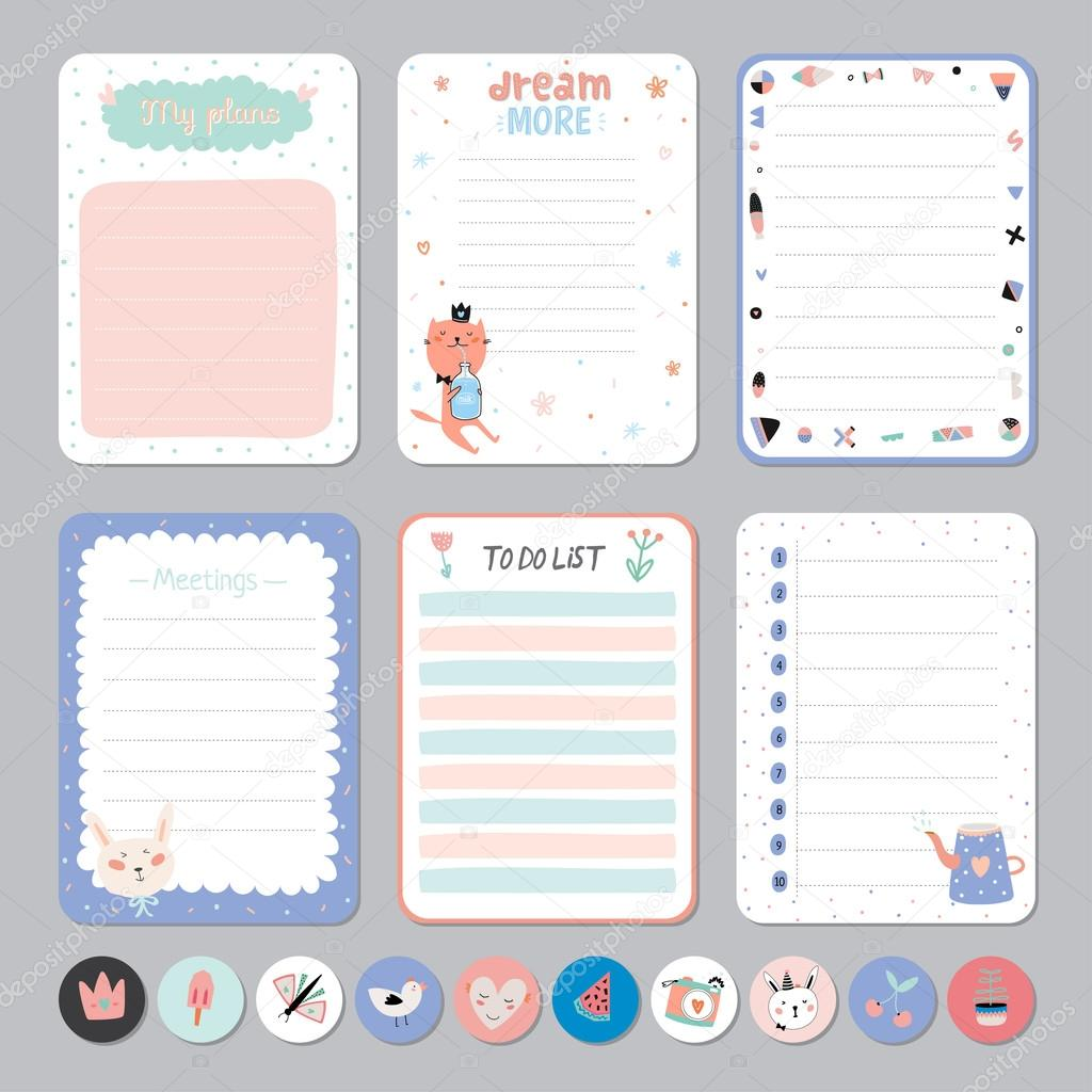 Cute calendar daily and weekly planner stock vector cute calendar daily and weekly planner template note paper and stickers set with vector funny animals illustrations good for kids cute background maxwellsz