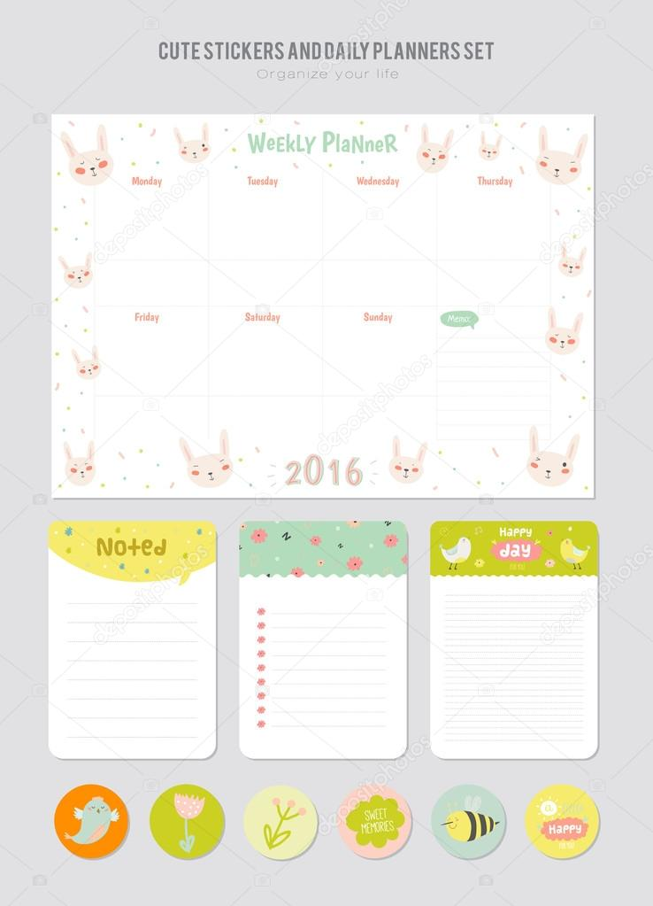 Cute Daily Calendar Template  Stock Vector  OneThlifetime