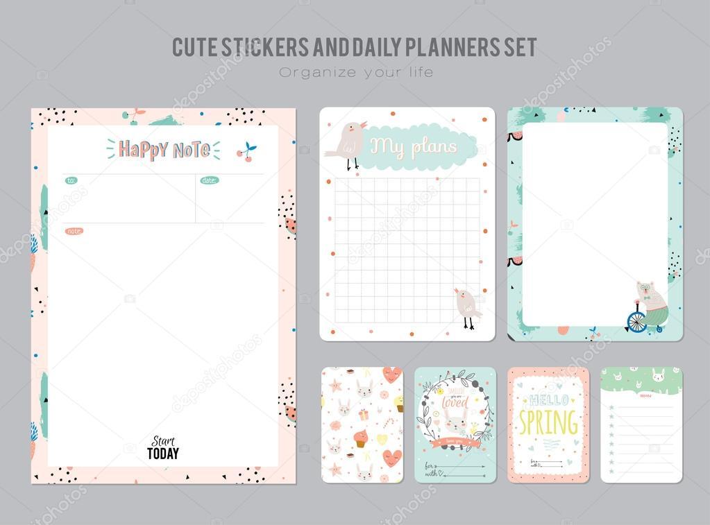 Daily Calendar Template | Cute Daily Calendar Template Stockvektor C One7thlifetime 121900424