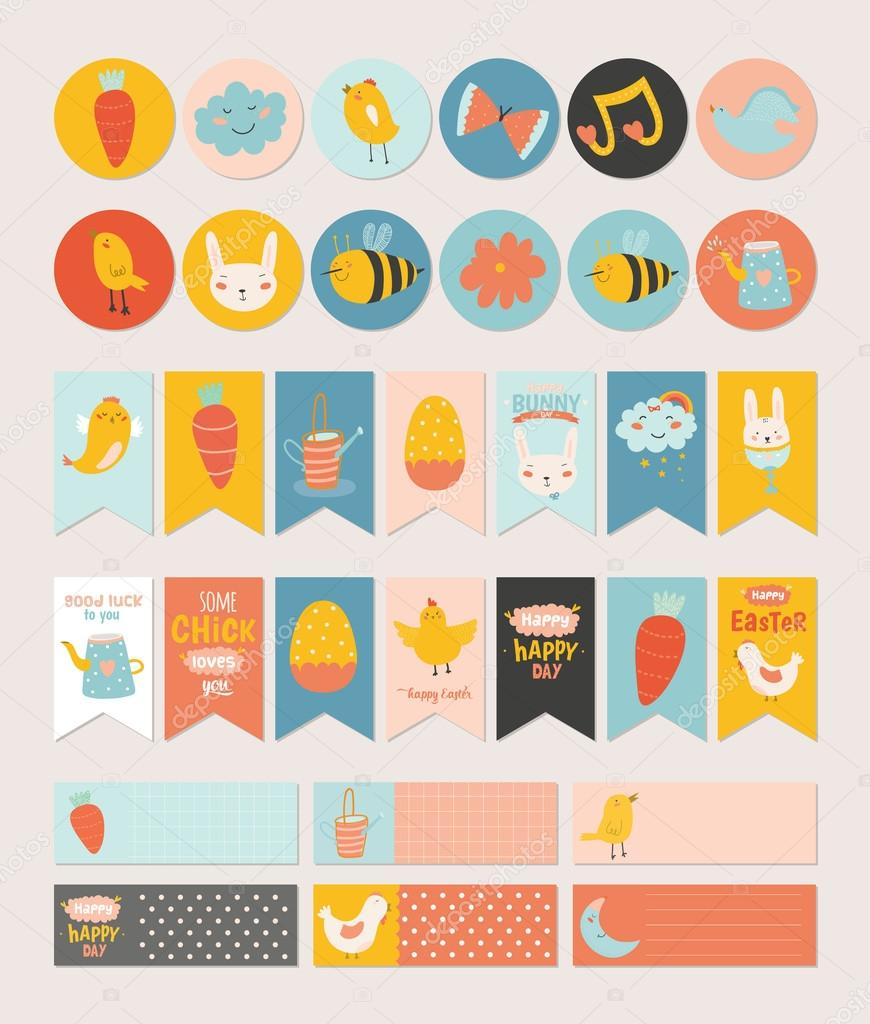 Easter Greeting Cards Gift Tags Stickers Stock Vector