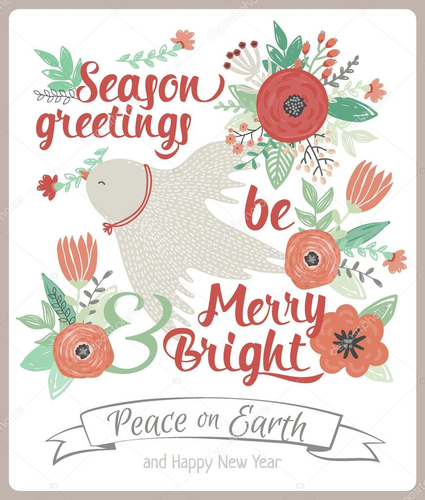 vintage merry christmas and happy new year card with flowers and winter dove greeting stylish illustration of winter romantic bouquet of flowers