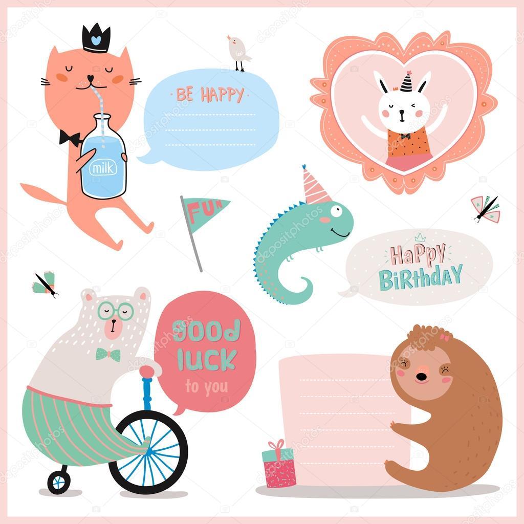 Set von Geburtstagskarten, Geschenkanhängern, Etiketten 30