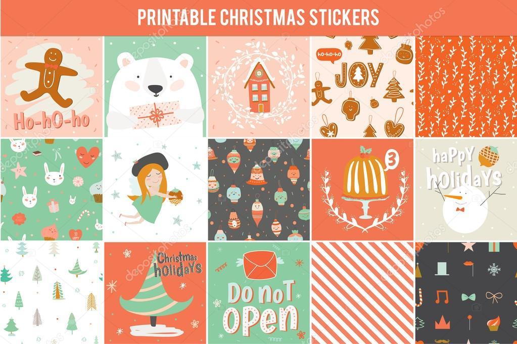 Colección de 15 regalo de Navidad etiquetas y las tarjetas — Vector ...